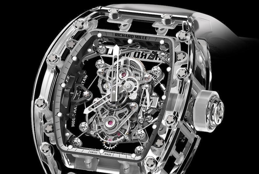 Richard Mille Tourbillon RM 56-02 Sapphire. Механизм в сапфировом корпусе напоминает двигатель гоночной машины